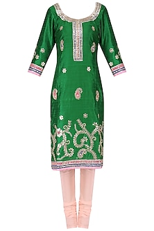 Emerald Green Gota Embroidered Kurta and Churidar Pants Set