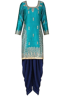 Blue Aari Work Kurta and Salwar Pants Set