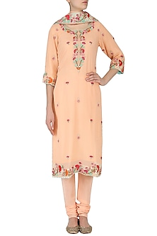 Peach Resham Handwork Kurta and Churidar Pants Set by RANA'S by Kshitija