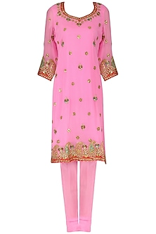 Pink Gota Patti Embroidered Kurta and Churidar Pants Set