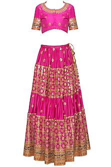 Pink embroidered lehenga set by RANA'S by Kshitija