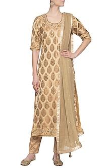 Golden embroidered kurta set by RANA'S by Kshitija
