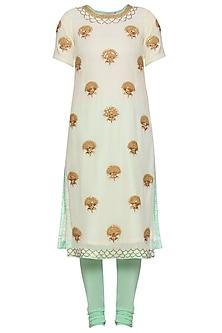 Mint yellow embroidered kurta set