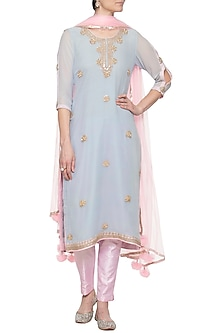 Powder blue embroidered kurta set by RANA'S by Kshitija