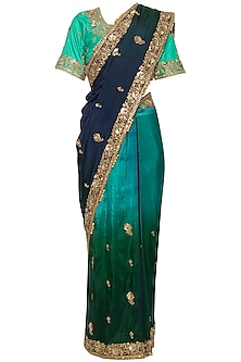 Blue embroidered ombre saree set