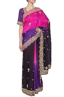 Purple embroidered saree set by RANA'S by Kshitija
