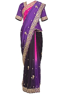 Purple embroidered saree set