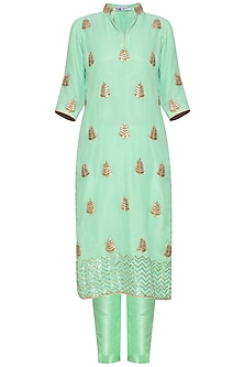 Green embroidered kurta set by RANA'S by Kshitija