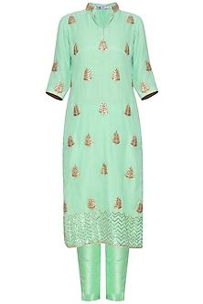 Green embroidered kurta set by RANA'S by Kshitija