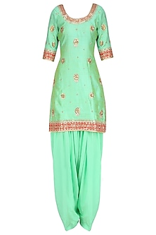 Sea Green Embroidered Kurta with Blue Patiala Salwar Pants by RANA'S by Kshitija