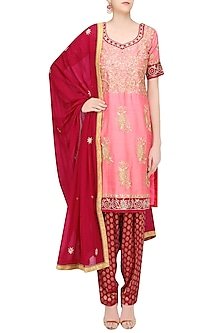 Peach and Red Embroidered Salwar Suit by RANA'S by Kshitija