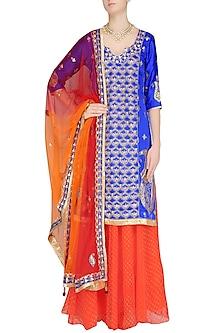 Royal Blue Gota Patti Work Kurta and Orange Skirt Set by RANA'S by Kshitija