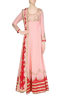 Peach and Red Floor Length Kalidar Flared Anarkali Set by RANA'S by Kshitija