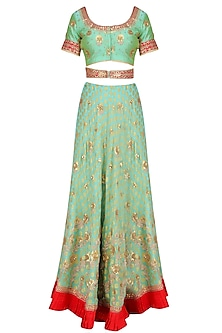 Mint Green and Red Embroidered Lehenga Set