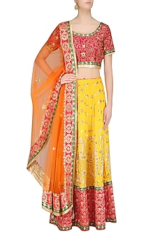 Yellow Embroidered Lehenga with Red Blouse and Pale Orange Dupatta by RANA'S by Kshitija