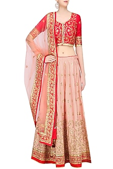 Peach Embroidered Lehenga with Red Blouse and Pale Orange Dupatta by RANA'S by Kshitija