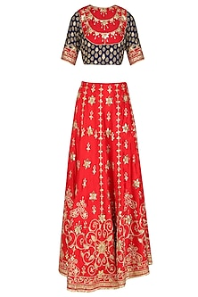 Red Gota Patti and Zardozi Work Bridal Lehenga with Blue Blouse