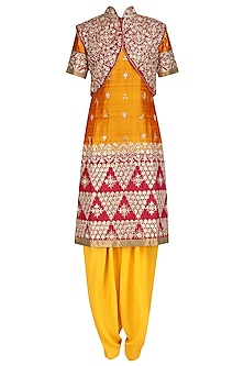 Yellow Embroidered Kurta and Salwar Pants with Red Jacket by RANA'S by Kshitija