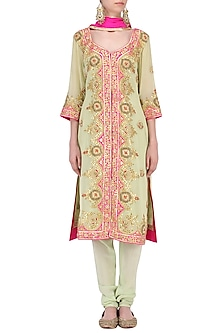 Pale Green Gotta Patti Embroidered Kurta and Salwar Pants Set by RANA'S by Kshitija