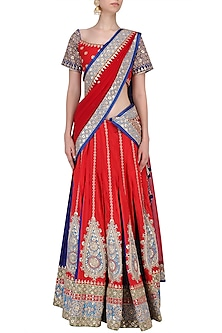 Red and Blue Embroidered Lehenga Set by RANA'S by Kshitija