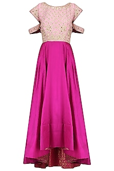 Magenta Asymmetrical Zardozi Embroidered Dress