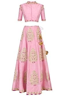 Pink Zardozi Embroidered Lehenga Set by RANA'S by Kshitija