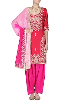 Pink Aari and Gota Patti Embroidered Kurta and Salwar Pants Set by RANA'S by Kshitija