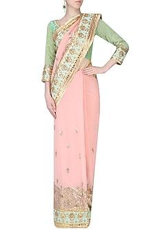 Pale Pink Gota Patti Work Saree, Blouse and Petticoat Set by RANA'S by Kshitija