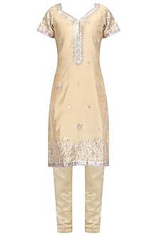 Beige Embroidered Kurta and Pants with Pink Dupatta by RANA'S by Kshitija