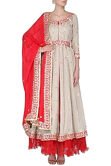 Beige Gota Patti Work Anarkali and Red Dupatta Set by RANA'S by Kshitija