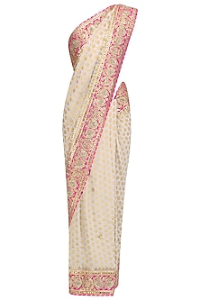 White Embroidered Banarasi Saree