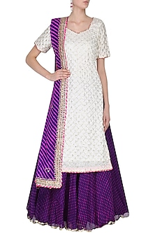 White Gota and Aari Work Kurta and Purple Skirt Set by RANA'S by Kshitija