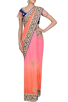 Peach and Pink Zardozi Hand Work Ombre Saree and Blouse Set by RANA'S by Kshitija