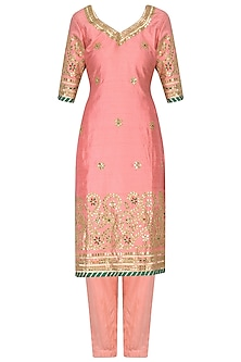 Peachy Pink Gota Work Kurta and Pants Set by RANA'S by Kshitija
