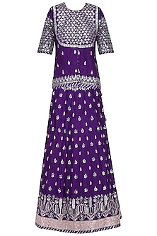 Purple Embroidered Lehenga Set by RANA'S by Kshitija