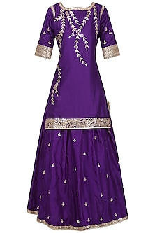 Purple Embroidered Kurta with Lehenga Set