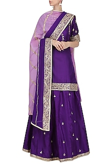 Purple Embroidered Kurta with Lehenga Set by RANA'S by Kshitija