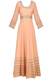 Peach Gota Patti Embroidered Anarkali Gown Set by RANA'S by Kshitija