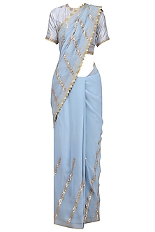 Sea Blue Gota Patti Embroidered Saree with Blouse