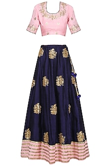 Deep Blue and Pink Embroidered Lehenga Set
