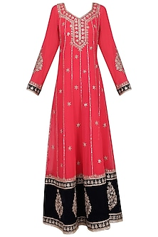 Red and Black Embroidered Anarkali Set