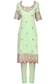 Mint Blue Embroidered Kurta Set