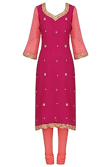 Pink Gota Patti Embroidered Kurta Set