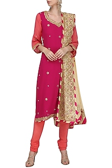 Pink Gota Patti Embroidered Kurta Set by RANA'S by Kshitija