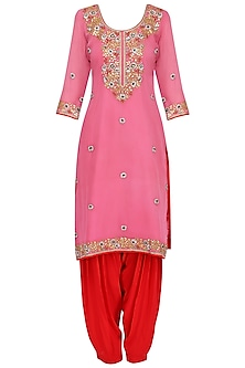 Pink Floral Embroidered Kurta Set