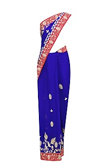 Royal Blue Embroidered Saree and Red Blouse Set by RANA'S by Kshitija
