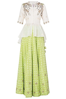 Off White Embroidered Peplum Top with Lime Green Lehenga Skirt