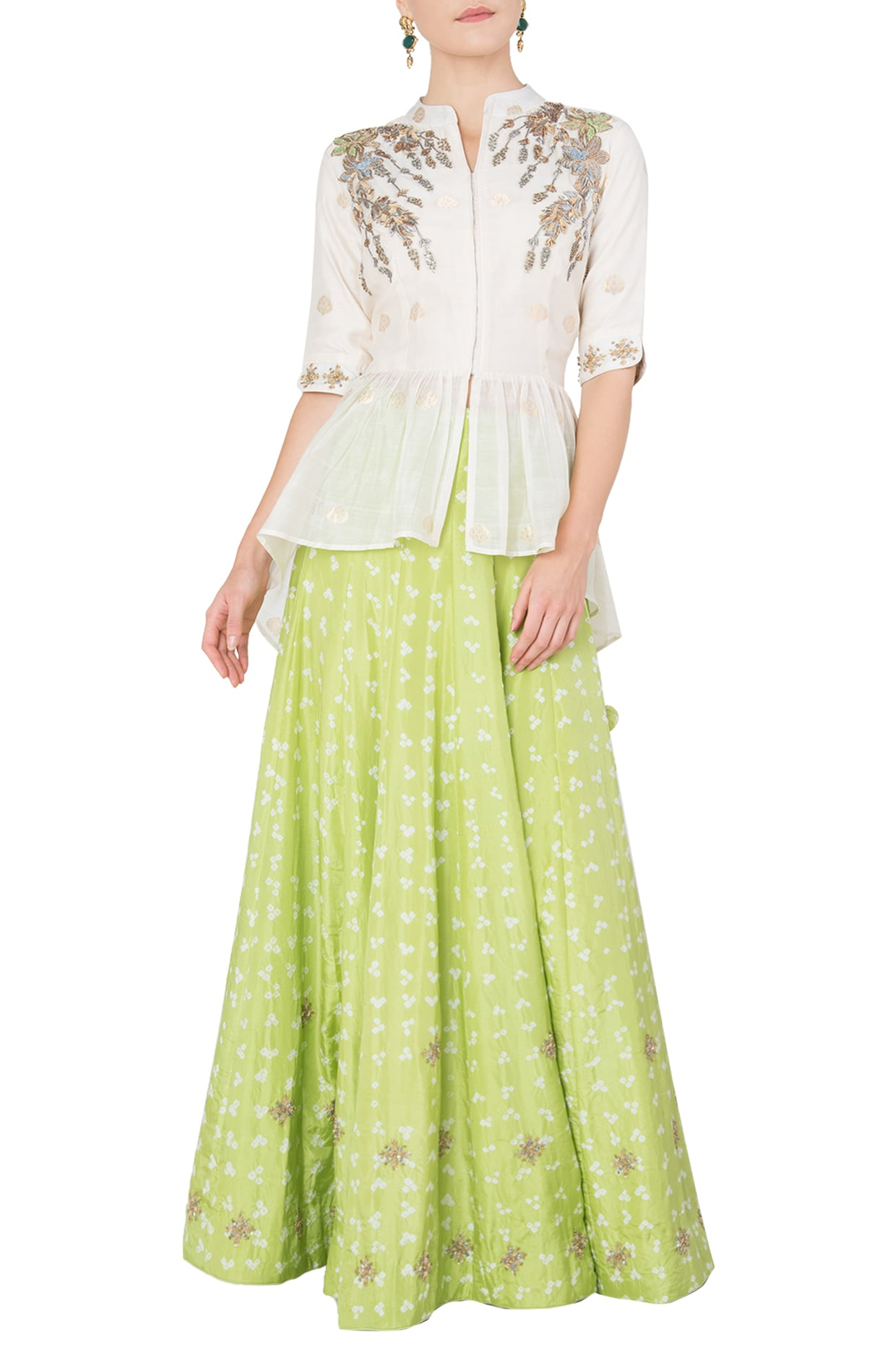 Off white embroidered peplum top with lime green lehenga skirt available  only at Pernia s Pop Up Shop. 3820f2847