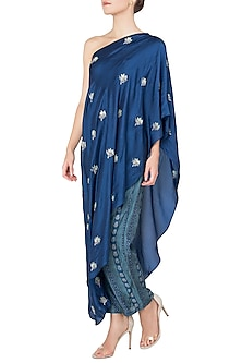Blue Asymmetrical Embroidered Top with Printed Pants by Koashee By Shubhitaa