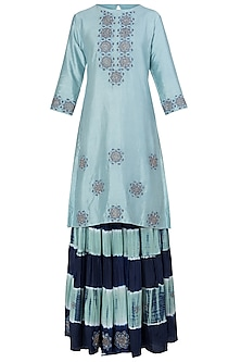 Blue Embroidered Kurta with Leheriya Sharara Pants